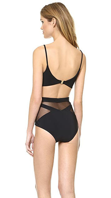 Zimmermann Sundown Bonded Plunge One Piece Swimsuit