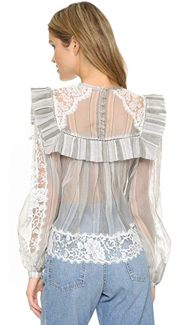 Zimmermann Havoc Ticking Lace Blouse