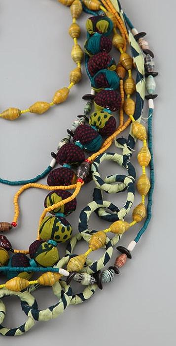ZUBA Africa Yellow & Indigo Bead Necklace Set