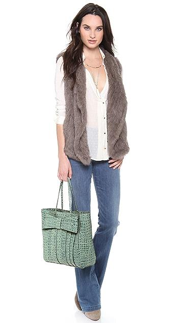 ZAC Zac Posen Shirley Bow Croco Shopper