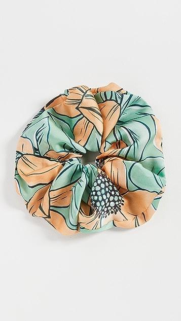 Autumn Adeigbo Green + Orange Floral Scrunchie