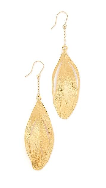 Aurelie Bidermann 18k Gold Swan Feather Dipped in Gold Earrings