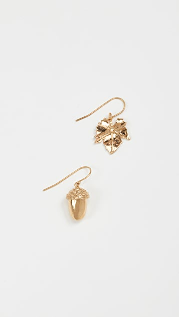 Aurelie Bidermann Barbizon Acorn & Leaf Pair Earrings