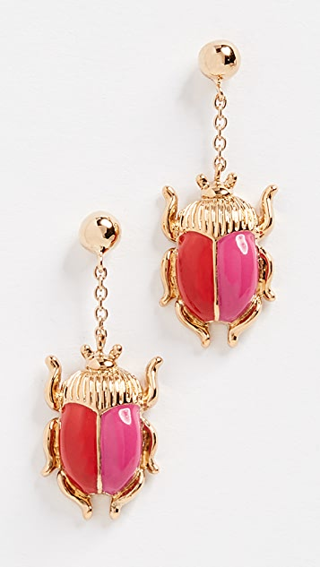 Aurelie Bidermann Elvira Scarab Earrings with Enamel