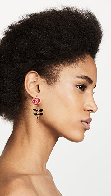 Aurelie Bidermann Rose Earrings with Enamel