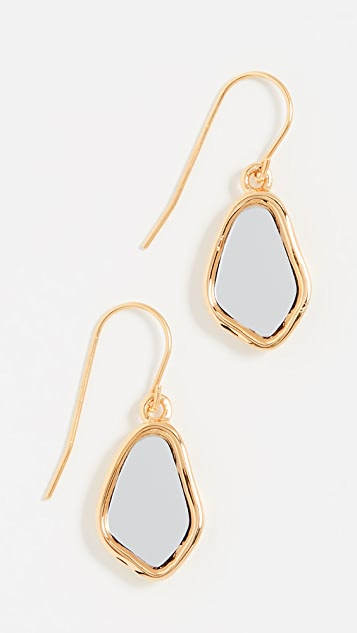 Aurelie Bidermann Ciottolo Pendant Earrings with Mirror