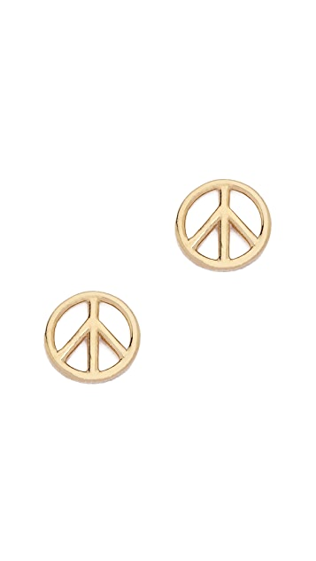 Aurelie Bidermann Fine Jewelry 18k Gold Peace Earring