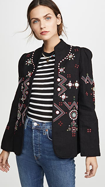 Alix of Bohemia Anja Black Jacket Folk Embroidery