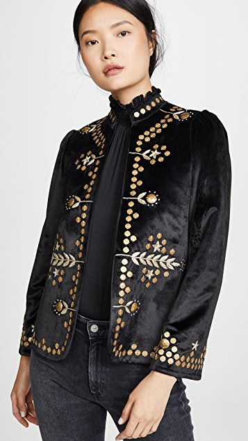 Alix of Bohemia Penelope Black Velvet Jacket with Gold Zardosi Embroidery