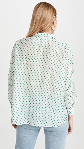 Alix of Bohemia Petit Pois Lace Up Blouse