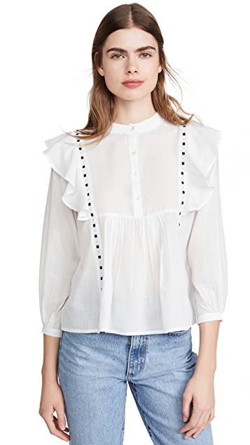 Alix of Bohemia June 荷叶边和缎带衬衫