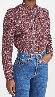 Alix of Bohemia Annabel 勃艮第酒红色倾斜印花女式衬衫