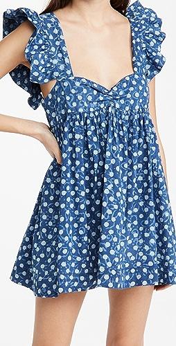 Alix of Bohemia - Bluebell 块状印花荷叶边连衣裙
