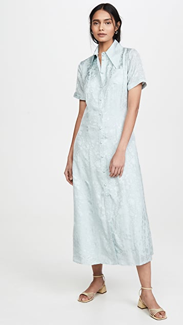 ALEXACHUNG Puff Sleeve Button Dress