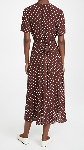 ALEXACHUNG Gathered Tie Waist Dress