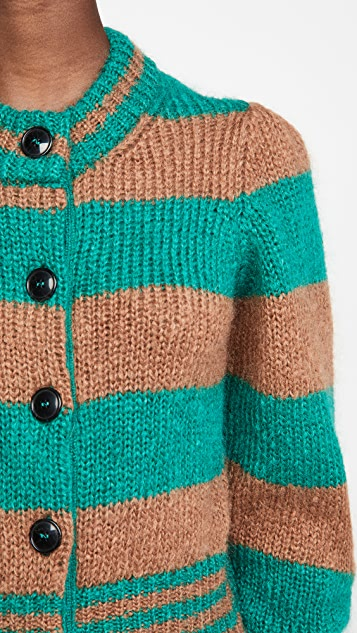 ALEXACHUNG Mohair Cardigan With Gathered Shoulders