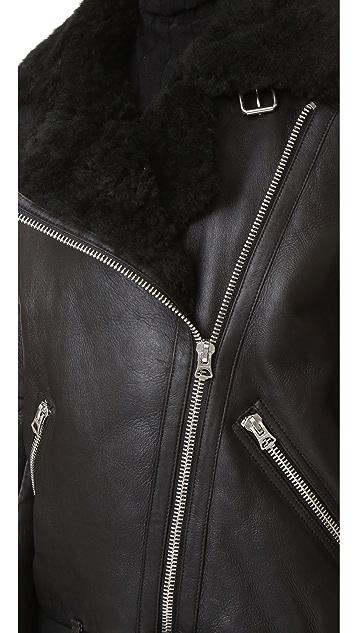 Acne Studios Velocite Shearling Moto Coat
