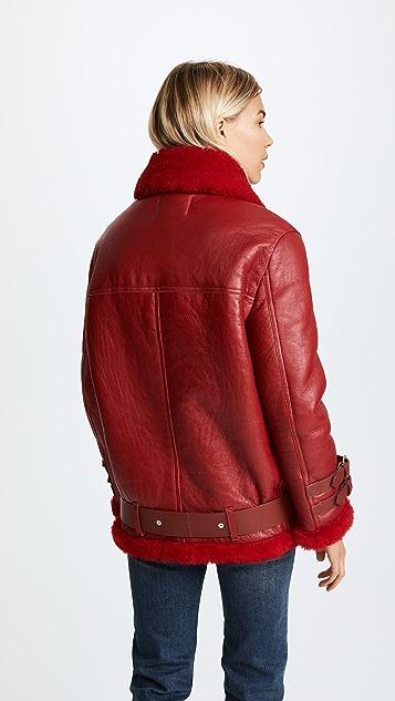 Acne Studios Байкерская куртка Velocite из короткой шерсти