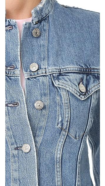 Acne Studios Top Frayed Denim Jacket