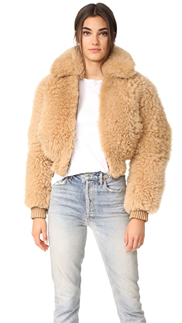 Acne Studios Linne Cropped Shearling Jacket