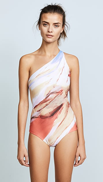 Acne Studios Karma Printed One Shoulder One Piece