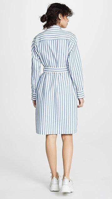 Acne Studios Платье Derin с вафельной текстурой в полоску