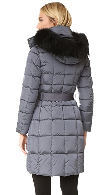 Add Down Belted Down Coat with Fur