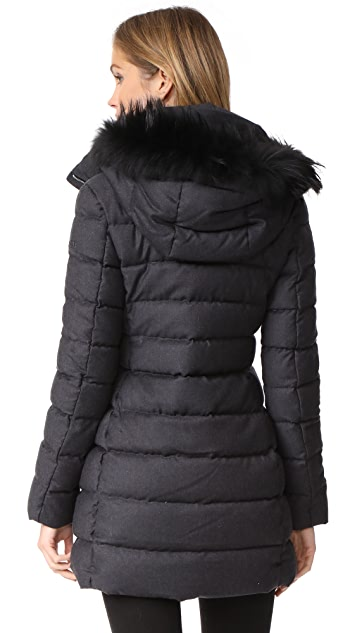 Add Down Fur Trim Wool Puffer Coat