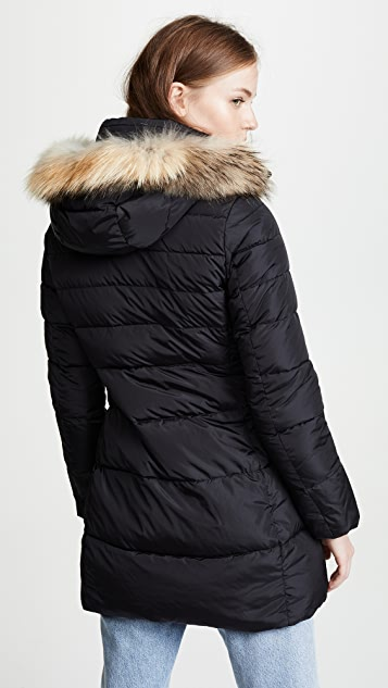 Add Down Hooded Down Coat with Fur