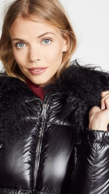 Add Down Down Jacket with Fur Border