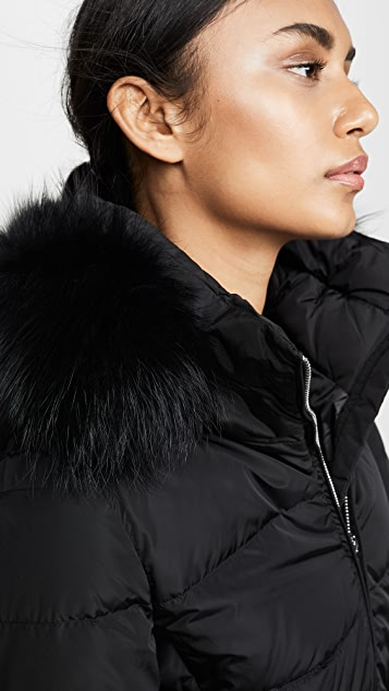 Add Down Down Coat With Detachable Fur Hood