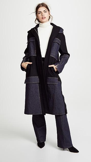 Adeam Anorak Coat with Denim Panel