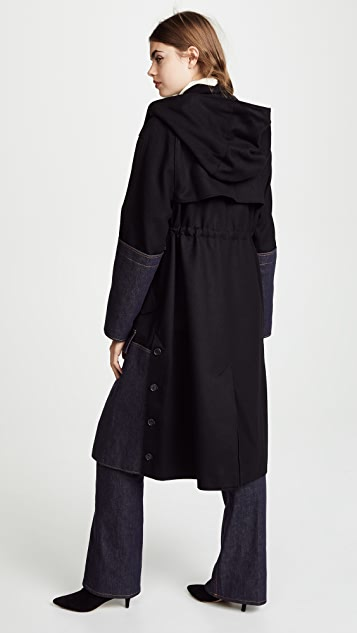 Adeam Anorak Coat with Denim Panel