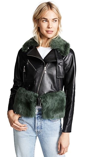 Adeam Moto Jacket with Removable Shearling Collar and Belt
