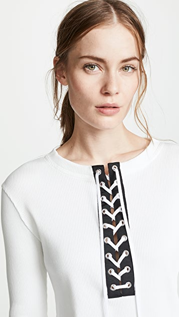Adeam Ribbed Lace Up Henley Tee