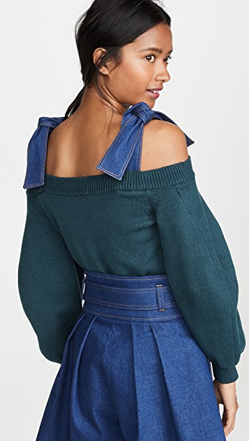 Adeam Denim Tie Sweater