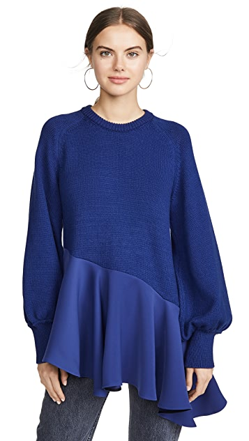 Adeam Asymmetrical Ruffle Sweater