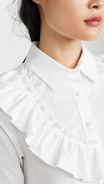 Adeam Asymmetric Ruffle Shirt