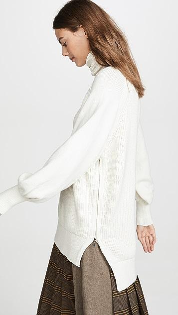 Adeam Side Zip Turtleneck Sweater