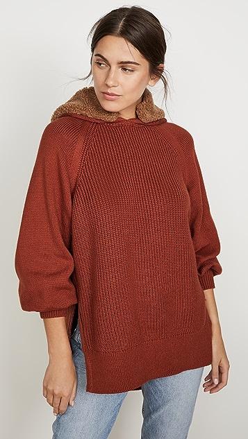 Adeam Faux Fur Trimmed Hoodie Sweater
