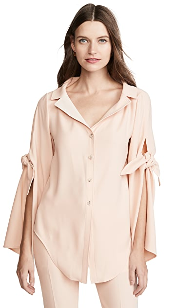 Adeam Long Sleeve Tie Blouse