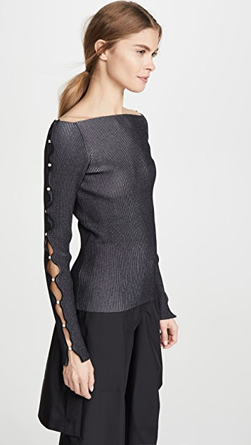 Adeam Off Shoulder Pearl Sweater