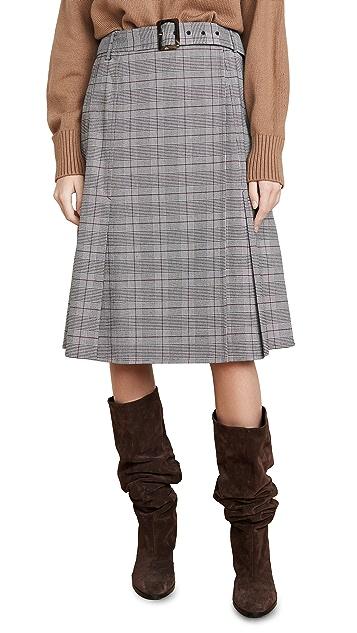Adeam 配有腰带的裹身半身裙