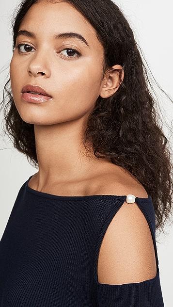 Adeam 肩部镂空人造珍珠针织上衣