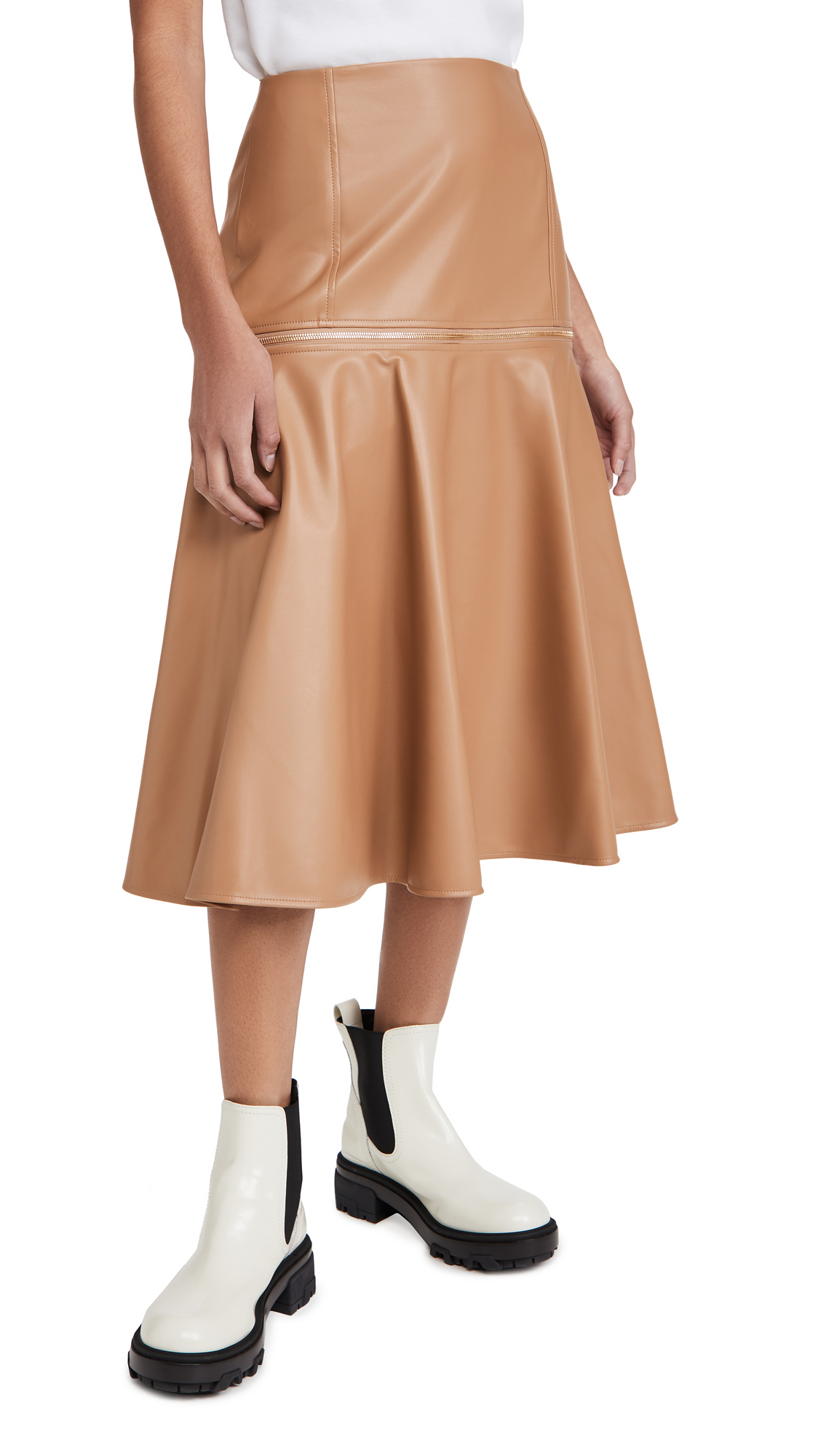 Adeam Faux Leather Zip Skirt