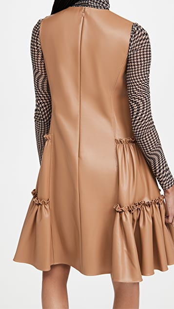 Adeam Faux Leather Ruched Dress