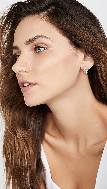 Adina's Jewels 珍珠人字纹圈式耳环