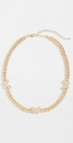 Adina's Jewels - 密镶蝴蝶链条短项链