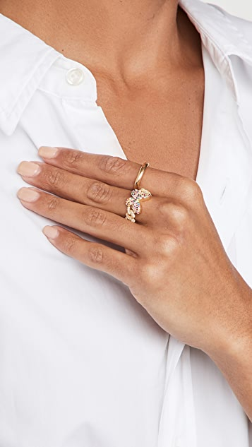 Adina's Jewels Pave Rainbow Butterfly Chain Link Ring