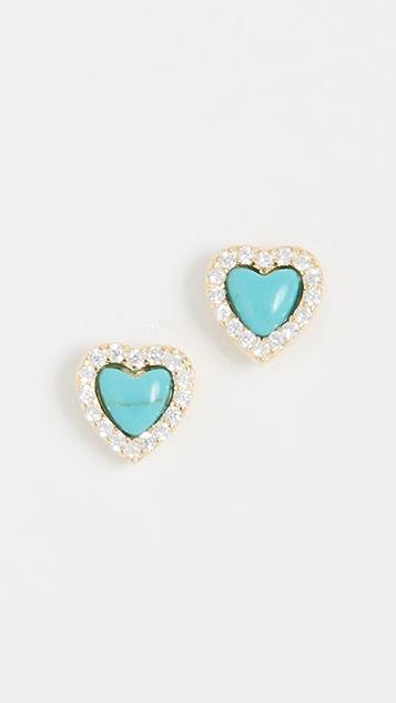 Adina's Jewels Turquoise Mini Heart Stud Earrings